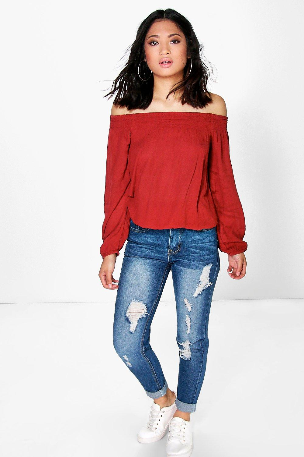 Petite Billie Distressed Mom Jean
