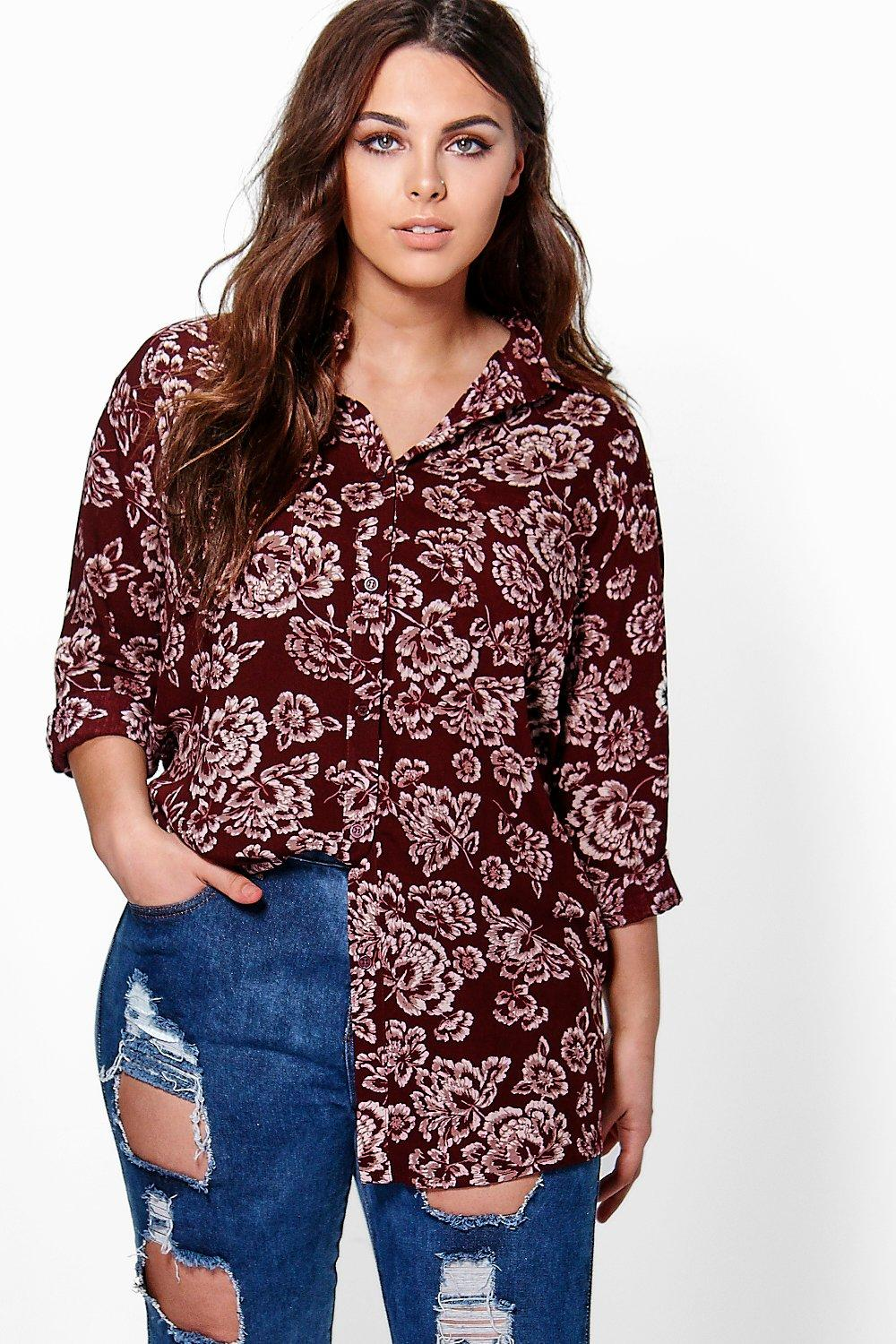 Plus Yazz Floral Print Oversized Shirt
