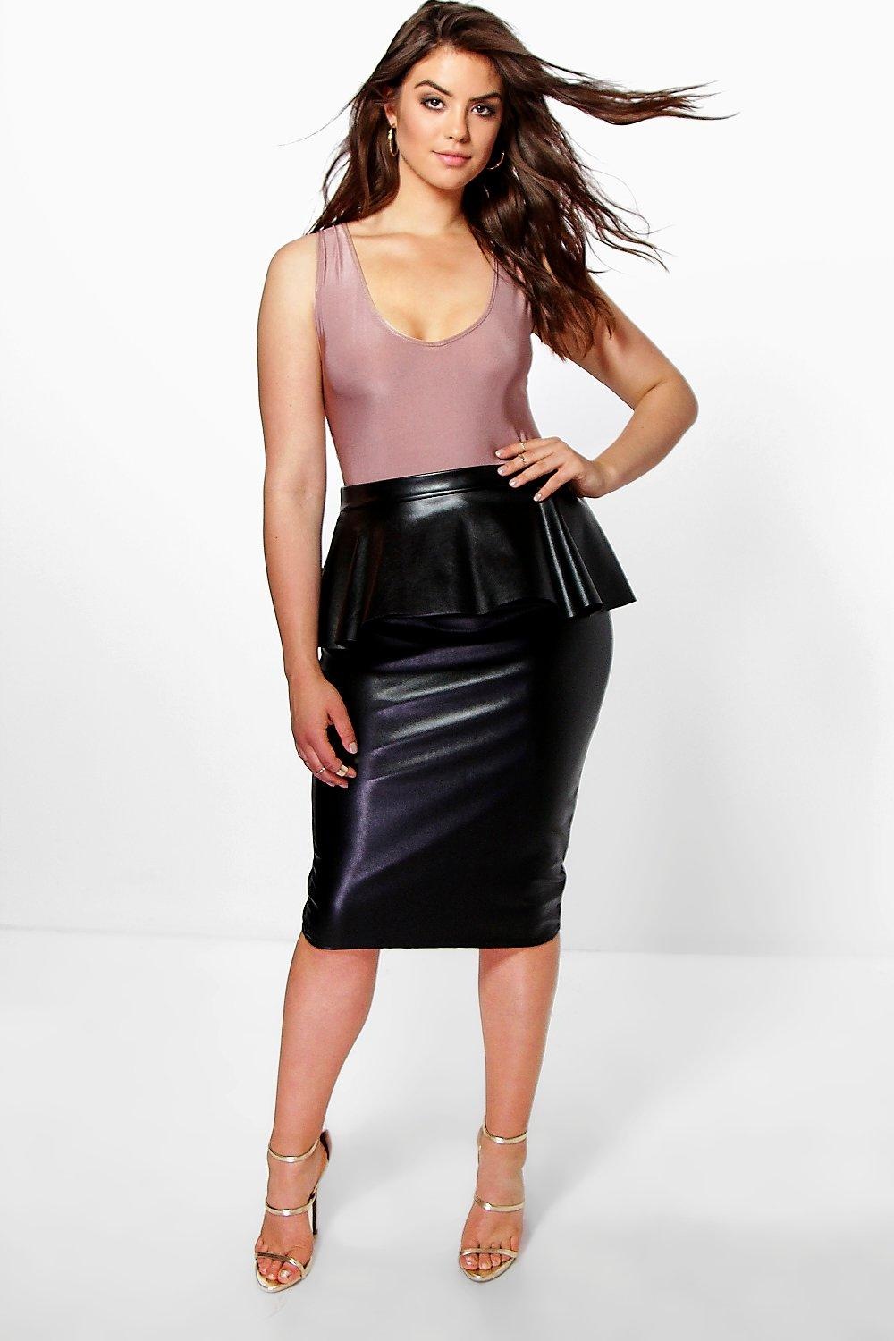 Plus Savannah PU Peplum Midi Skirt
