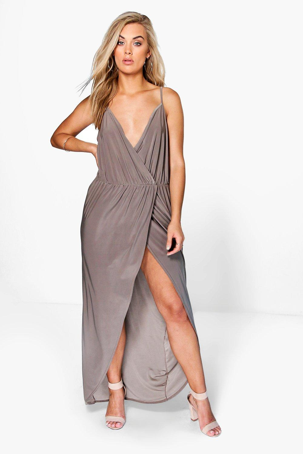 Plus malia strappy slinky wrap maxi dress at for Boohoo dresses for weddings