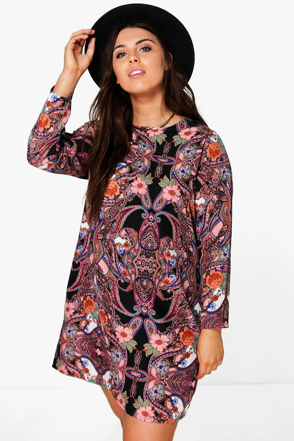 Plus Kea Floral Paisley Long Sleeve Shift Dress