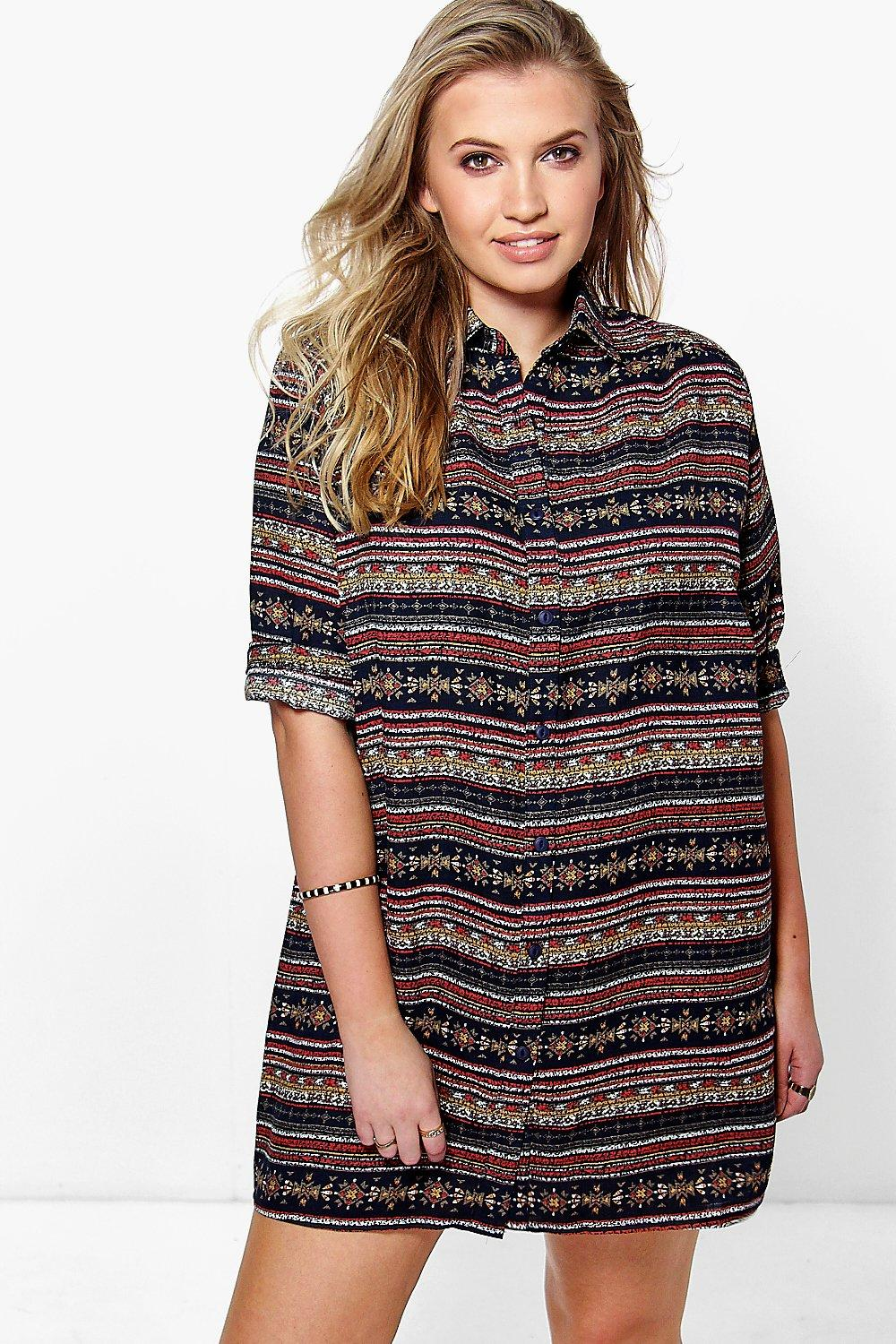 Plus Libby Printed Shirt Dress