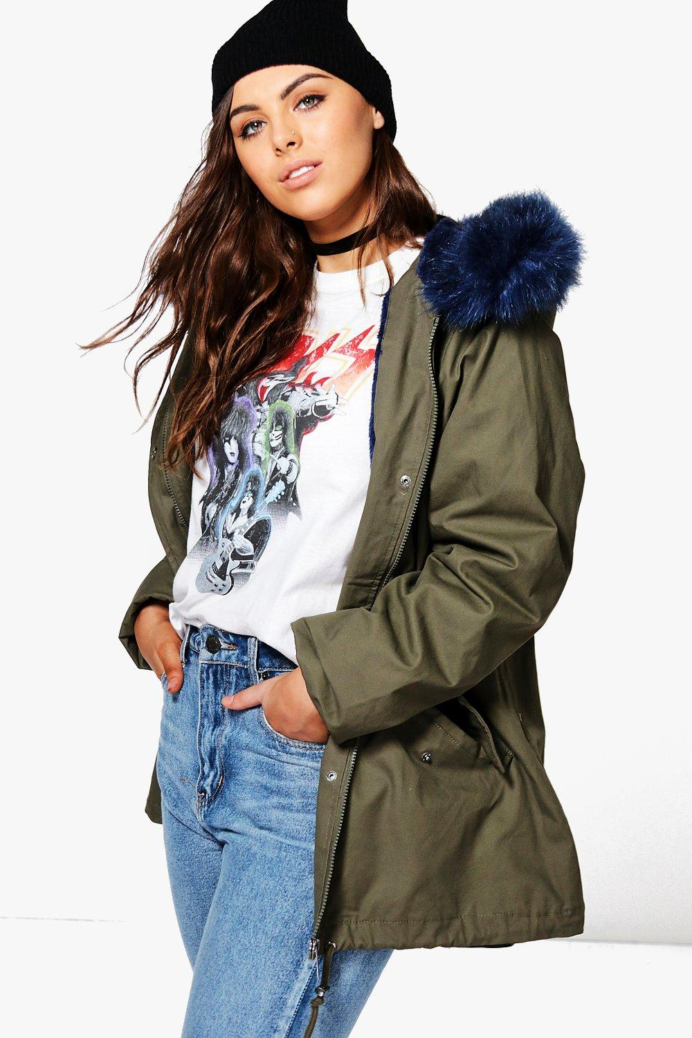 Plus Billie Parka With Bright Contrast Faux Fur