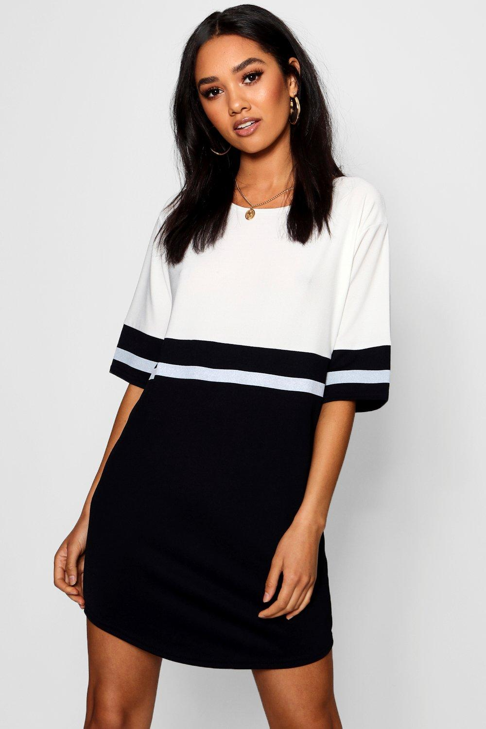Petite Caris Curve Hem Colour Block Shift Dress