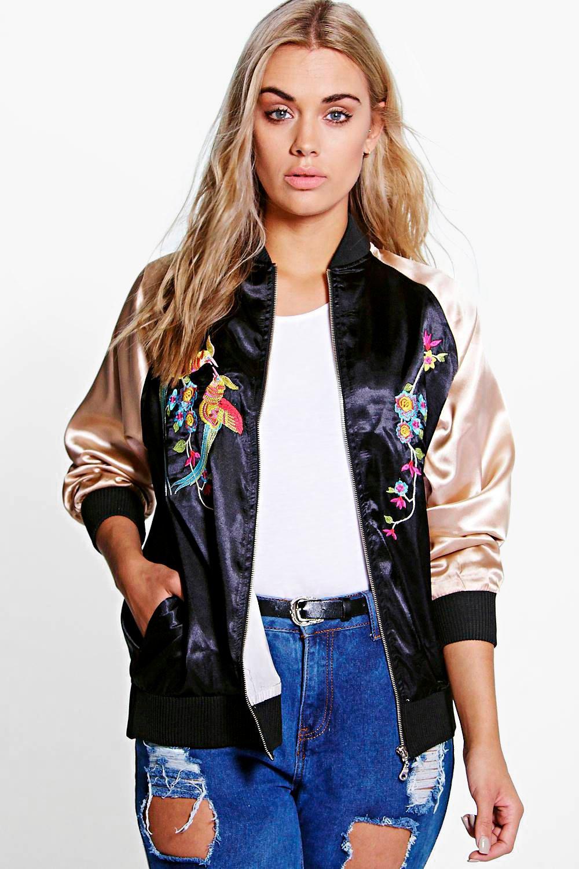 Plus Ciara Embroidered Satin Bomber Jacket at boohoo.com