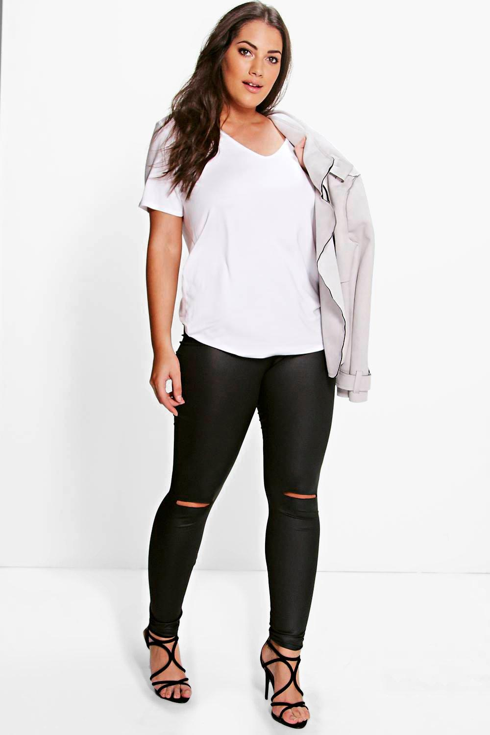 Plus Hazel PU Legging With Rip Knee