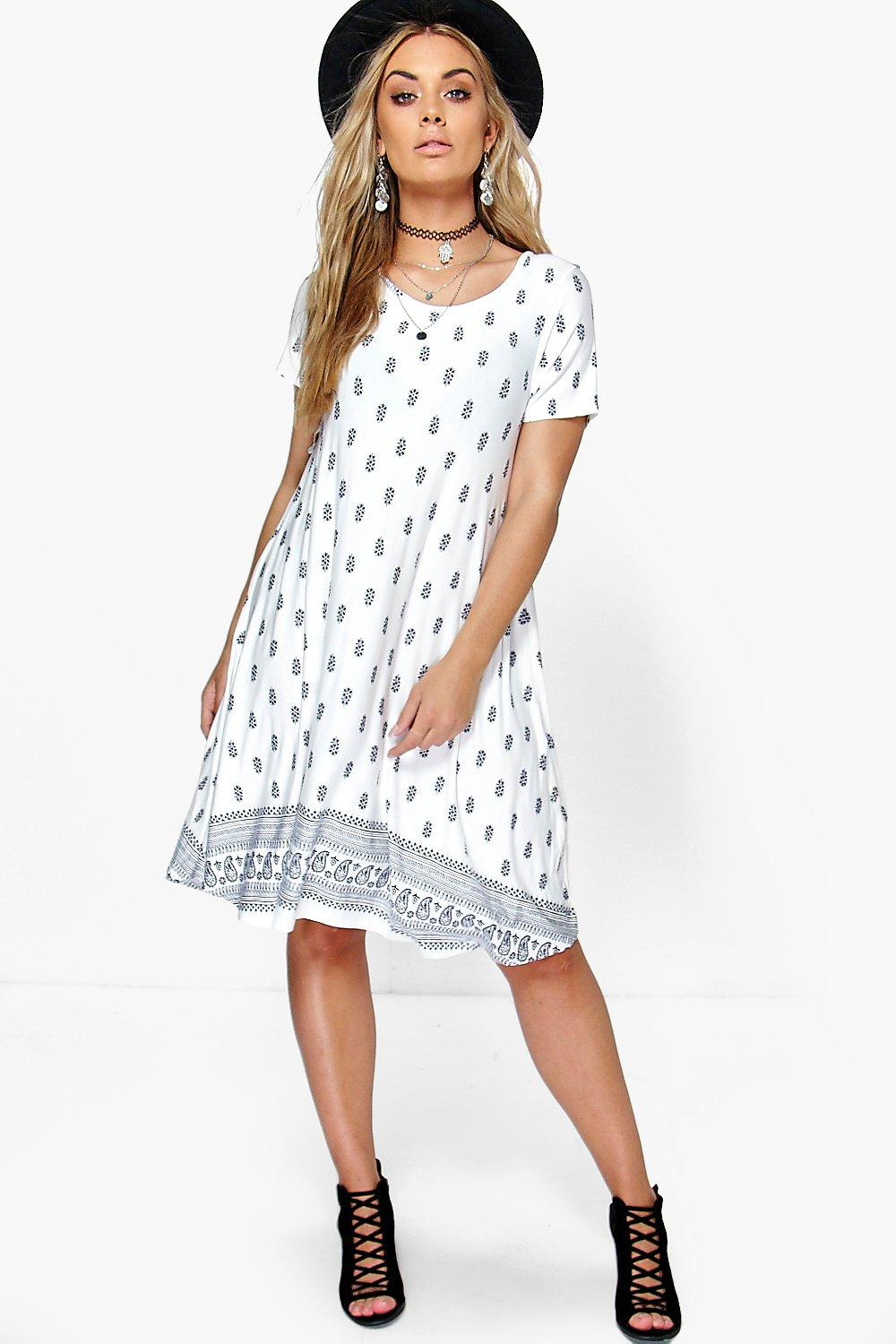 Plus Harriet Paisley Print Swing Dress