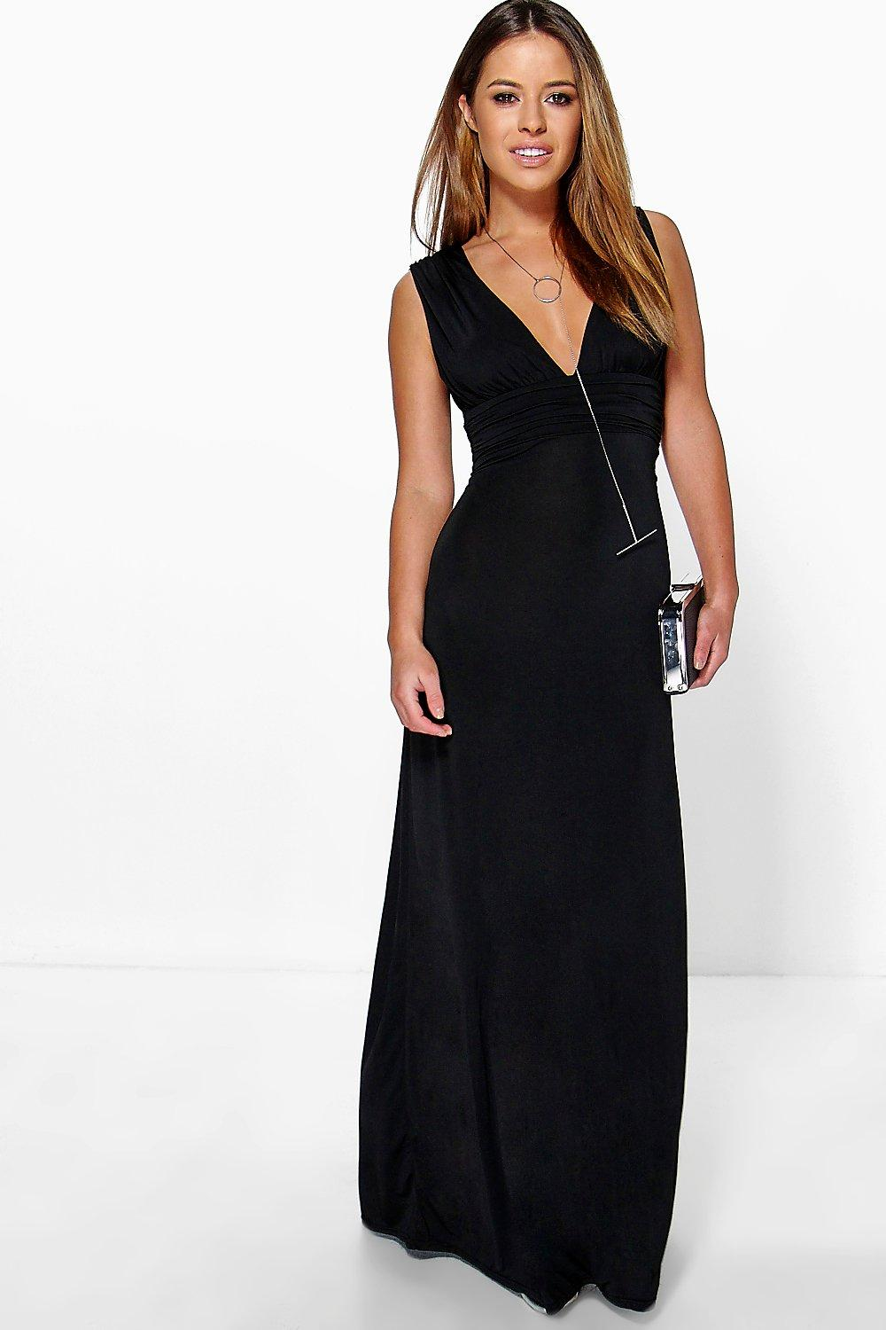 Petite Donna Plunge Ruched Maxi Dress at boohoo.com