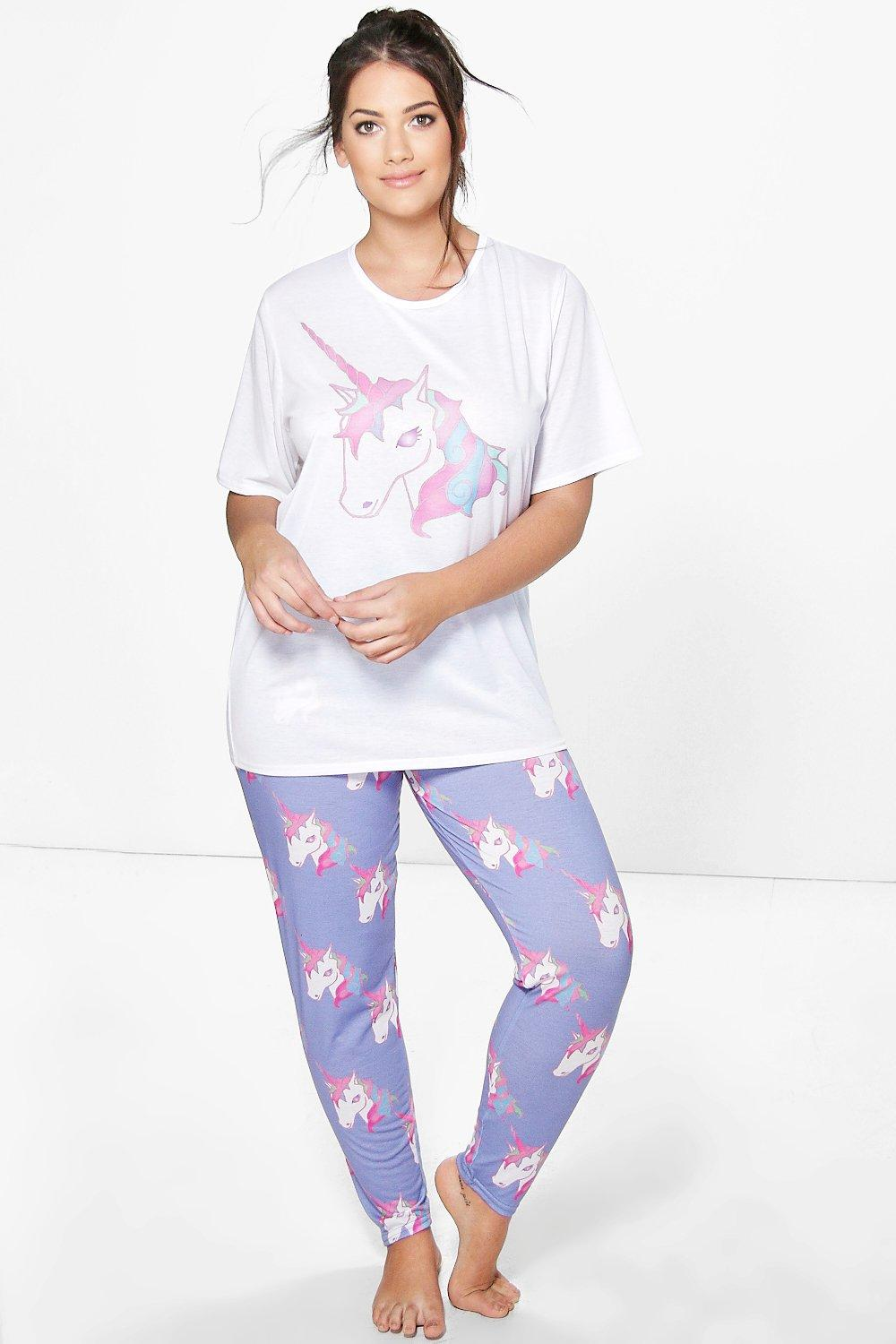 Plus Mona Unicorn Print PJ Set