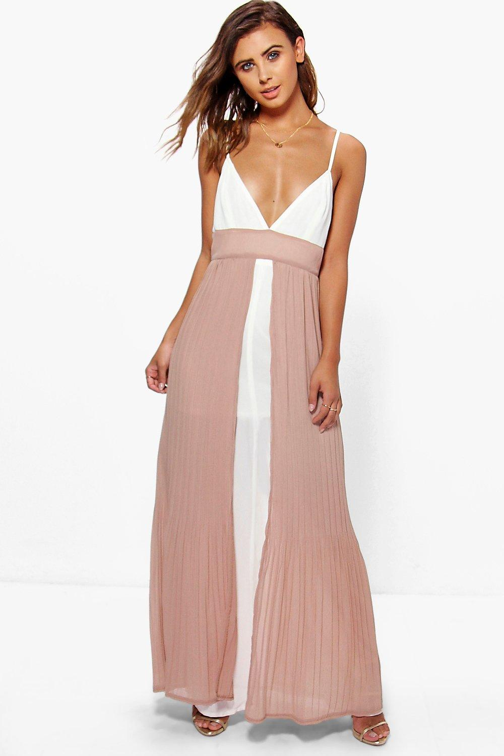 Petite Ria Pleated Colour Block Strappy Detail Maxi