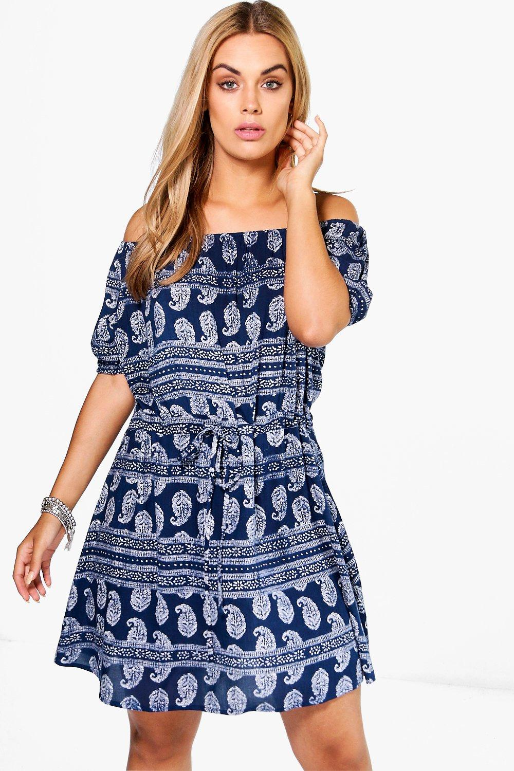 Plus lola paisley woven off the shoulder dress at for Boohoo dresses for weddings