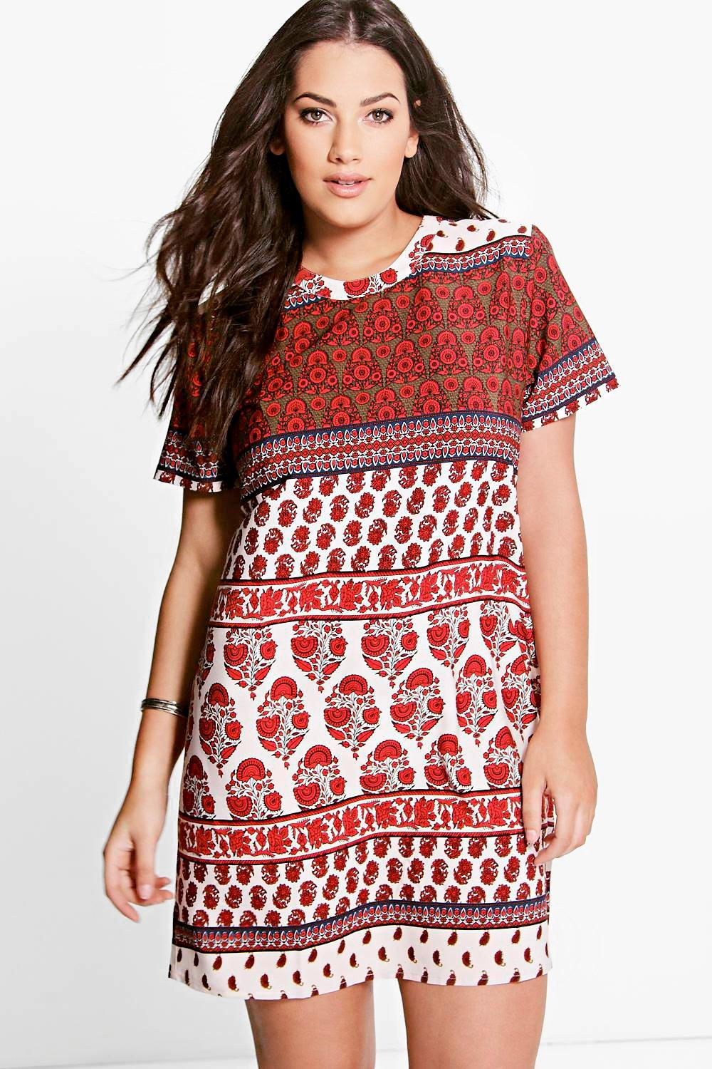 Plus Emily Ethnic Print Shift Dress