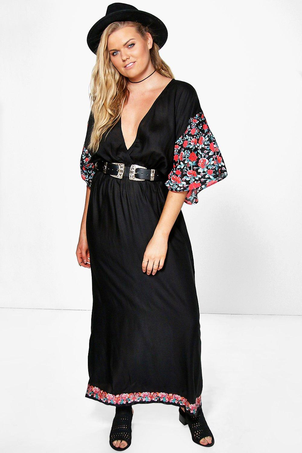 Plus Amy Floral Sleeve Printed Plunge Maxi Dress