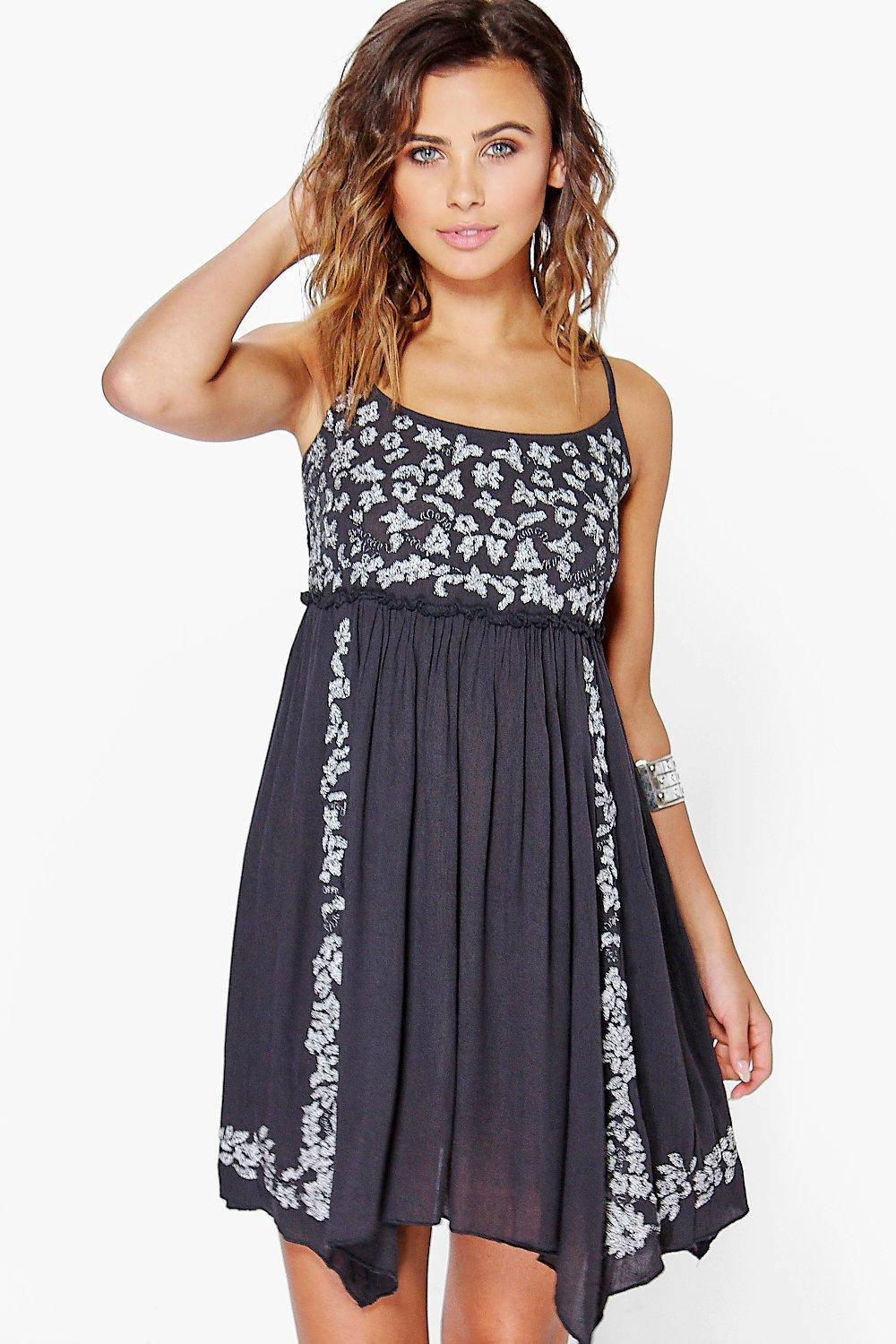 Petite Fran Embroidered Hanky Hem Sundress