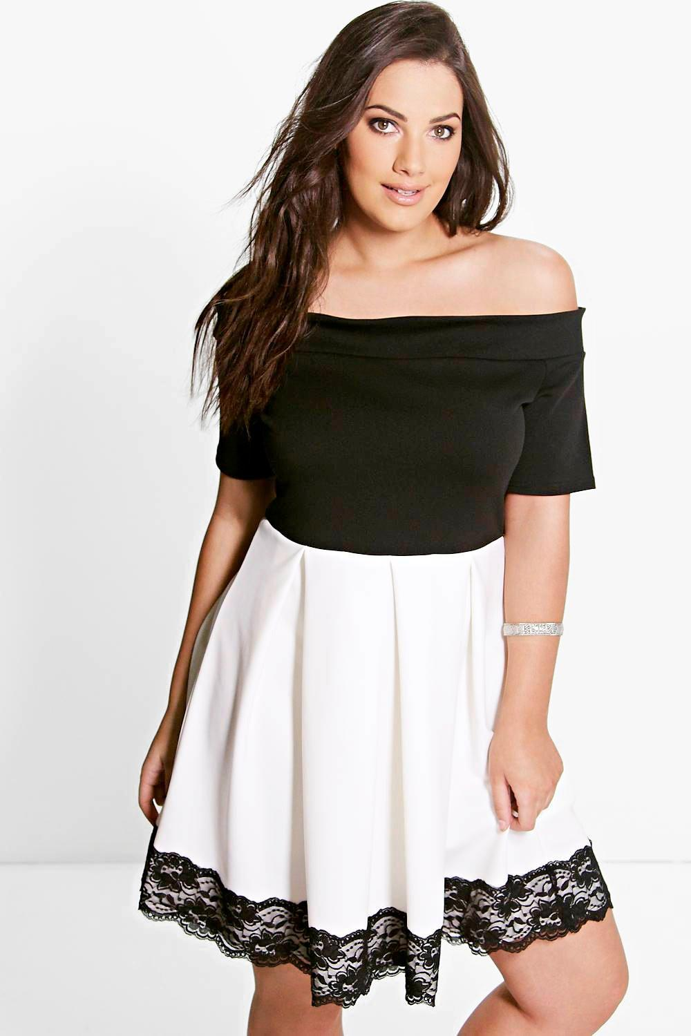 Plus Kelly Monochrome Bardot Skater Dress