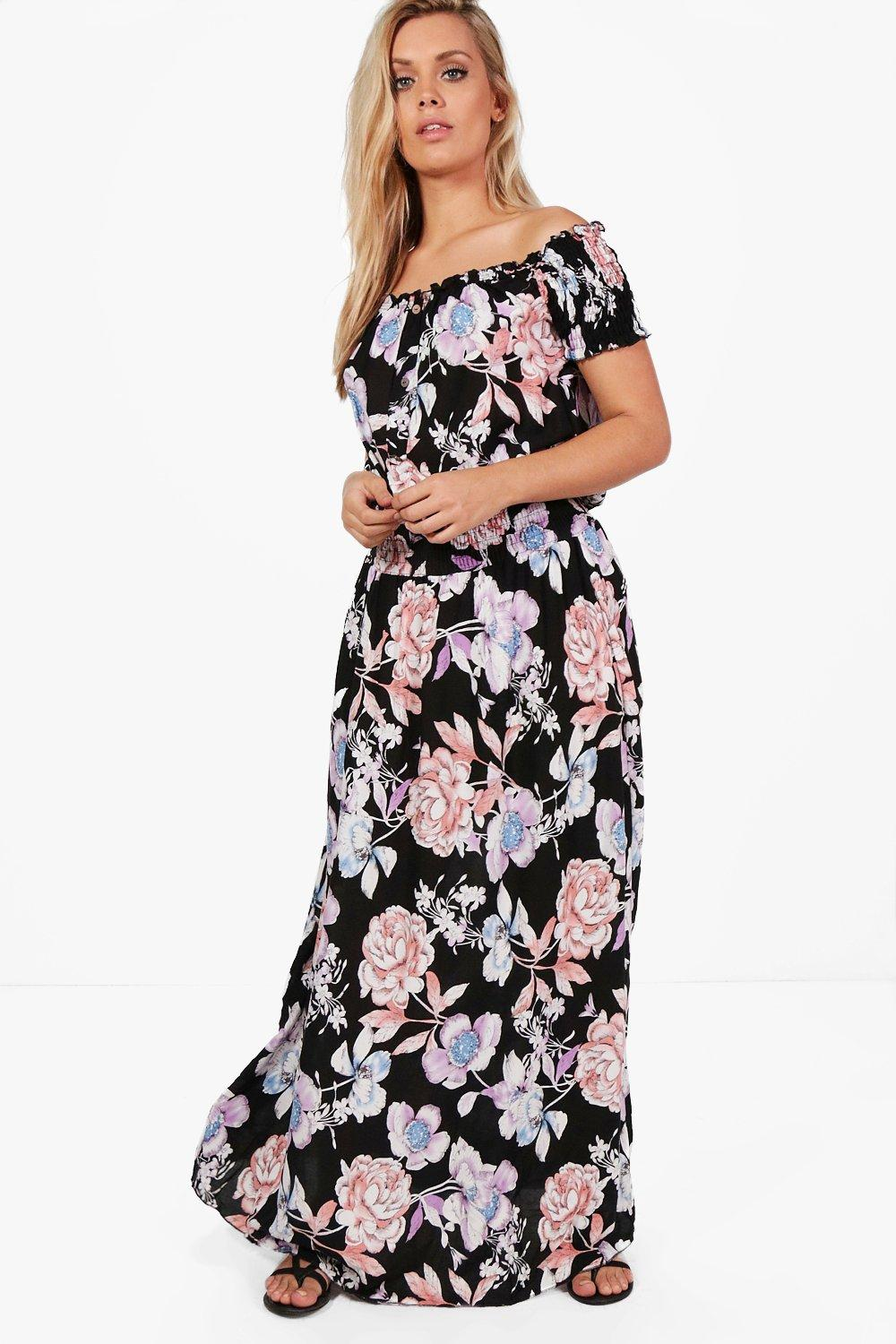 Plus helen floral off the shoulder maxi dress at for Boohoo dresses for weddings