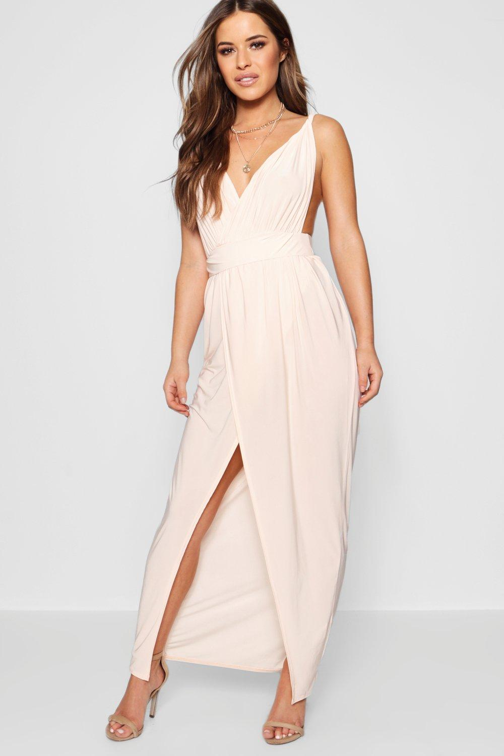 Petite sarah plunge drape maxi dress at for Boohoo dresses for weddings