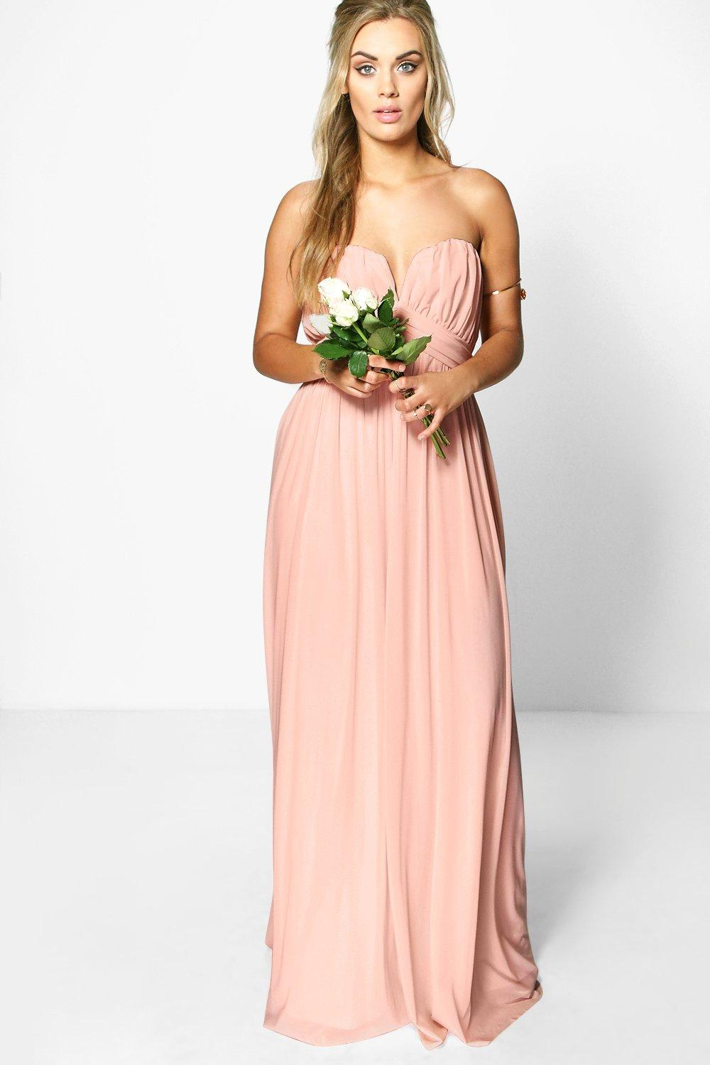 Plus helen mesh plunge bandeau maxi dress at for Boohoo dresses for weddings