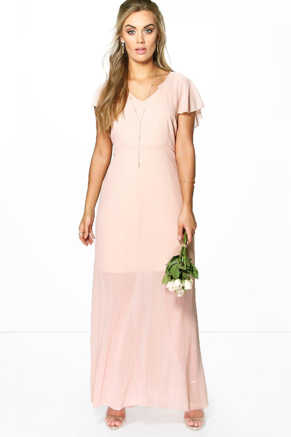 Plus mandy chiffon cape detail maxi dress at for Boohoo dresses for weddings