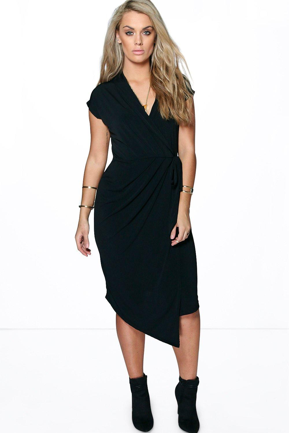 Plus Nicole Wrap Front Midi Dress at boohoo.com