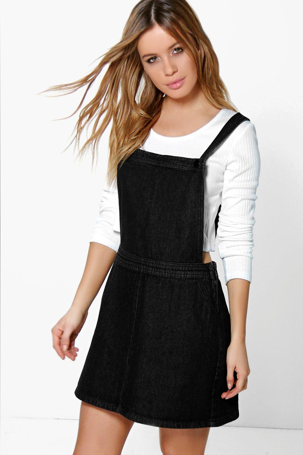 Creative Boohoo Womens India Denim Dungaree Pinafore Dress In Indigo Size 6