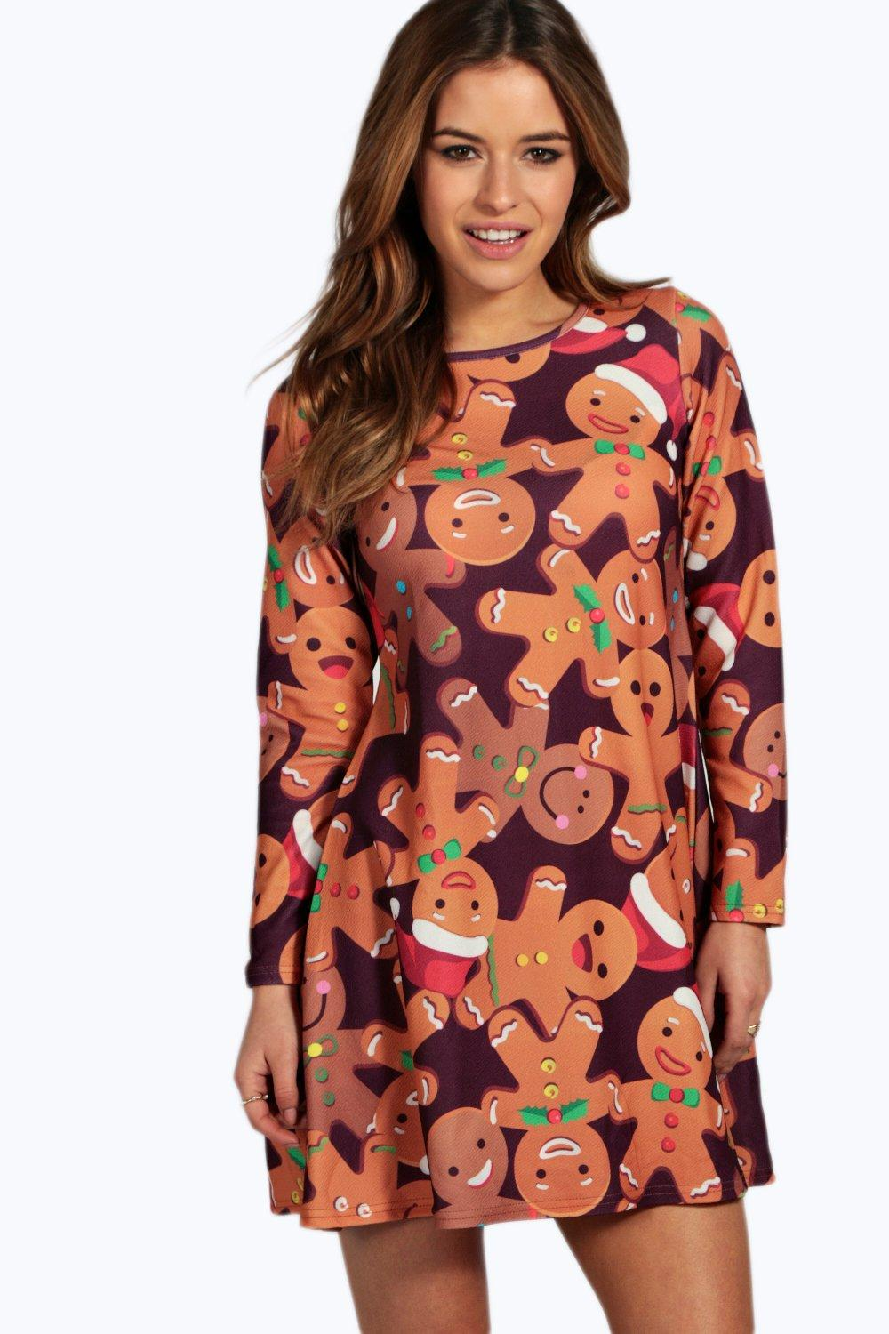 Petite Faith Gingerbread Man Swing Dress