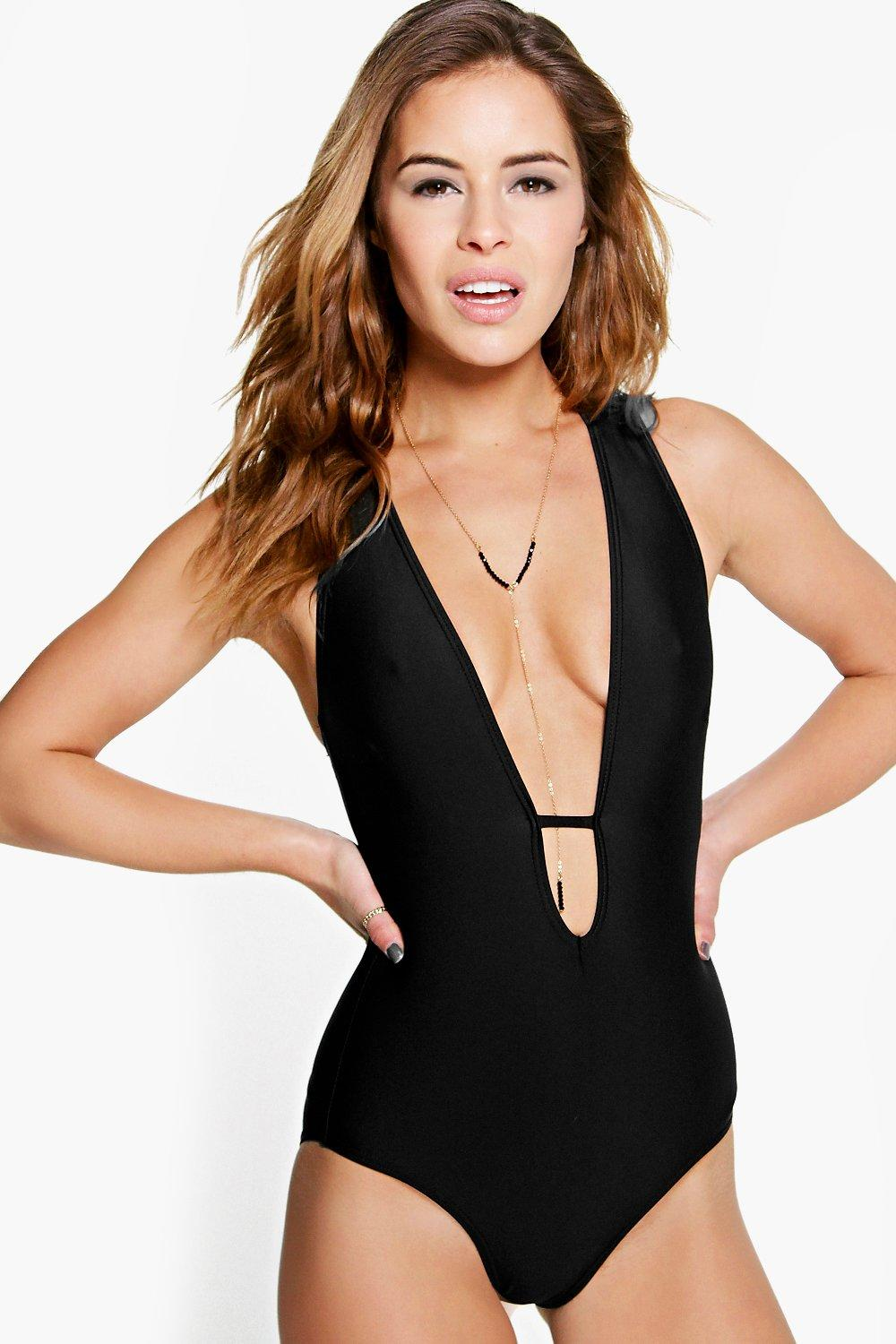 Petite Olivia Plunge Front Cross Strap Back Swimsuit