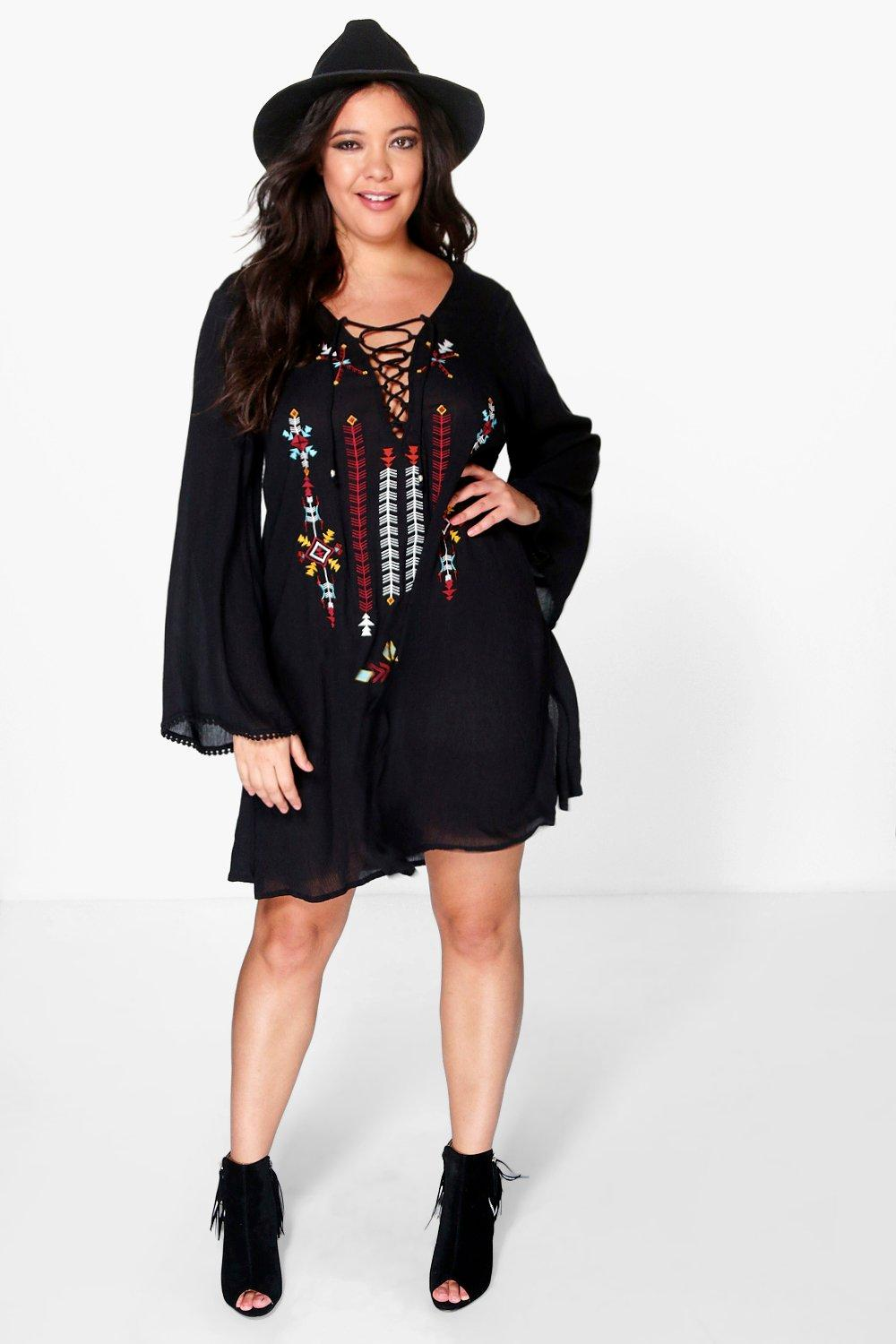 Plus Lola Embroidered Tie Up Shift Dress