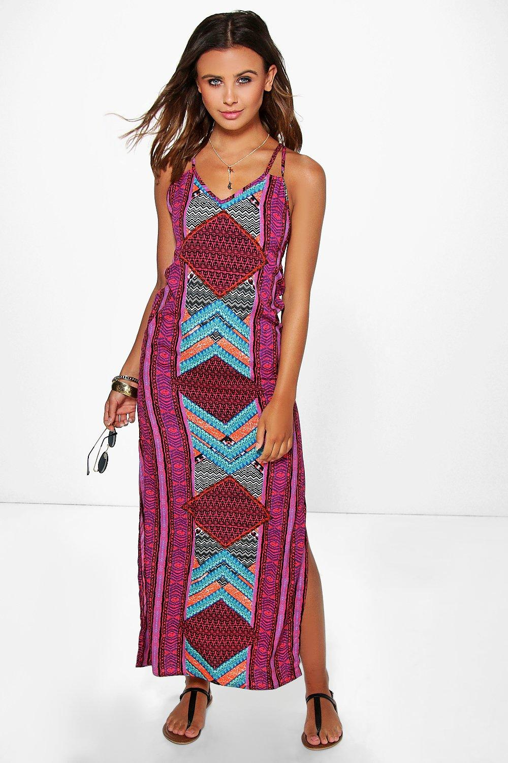 Petite brooke multi print maxi dress at for Boohoo dresses for weddings