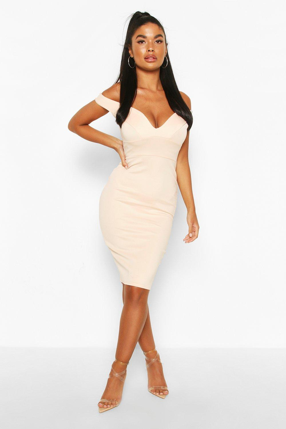 Petite Nisha Off The Shoulder Dress at boohoo.com