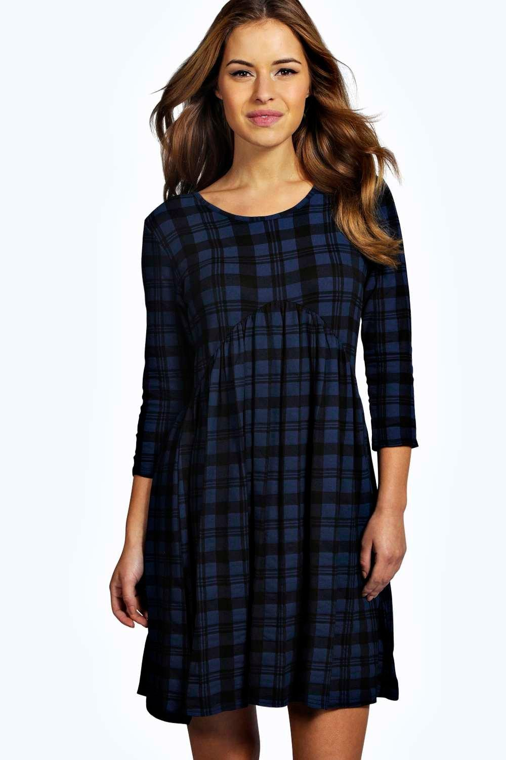 Petite Ella 3/4 Sleeve Check Print Babydoll Dress
