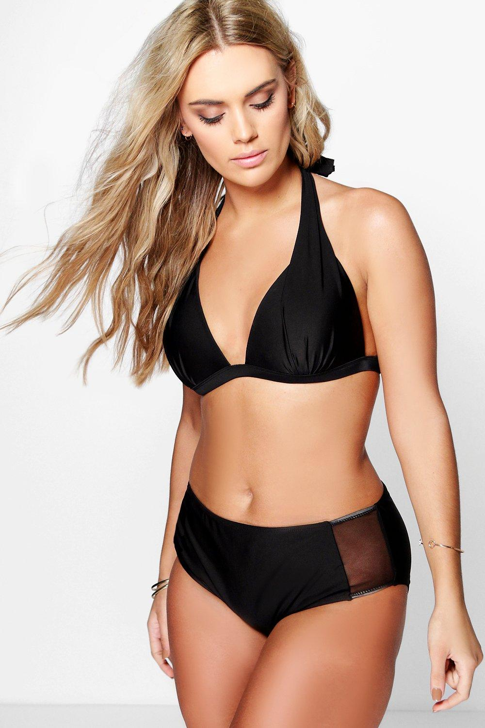Plus Hannah High Waist Mesh Panel Bikini