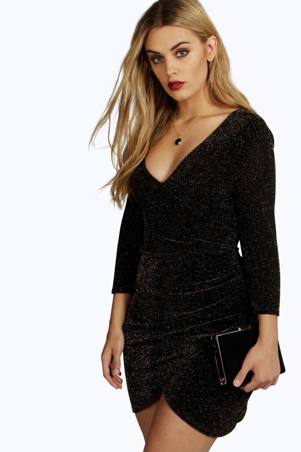 Plus Libby Glitter Wrap Front Dress