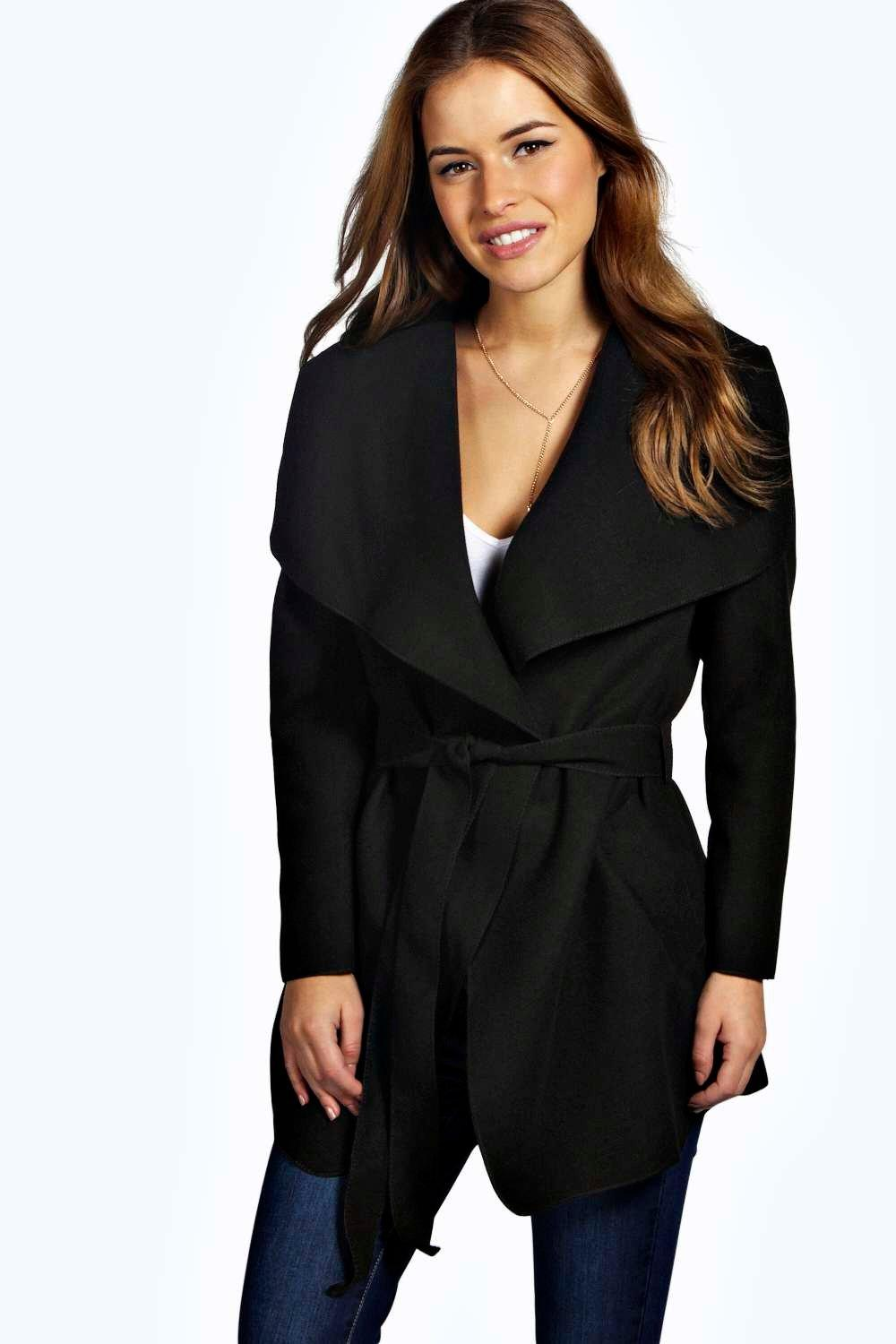 Petite Charlotte Waterfall Coat at boohoo.com