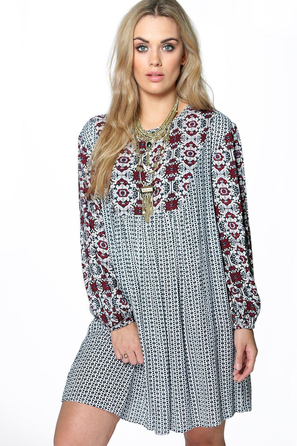 Plus Shauna Mix Print Tunic Dress