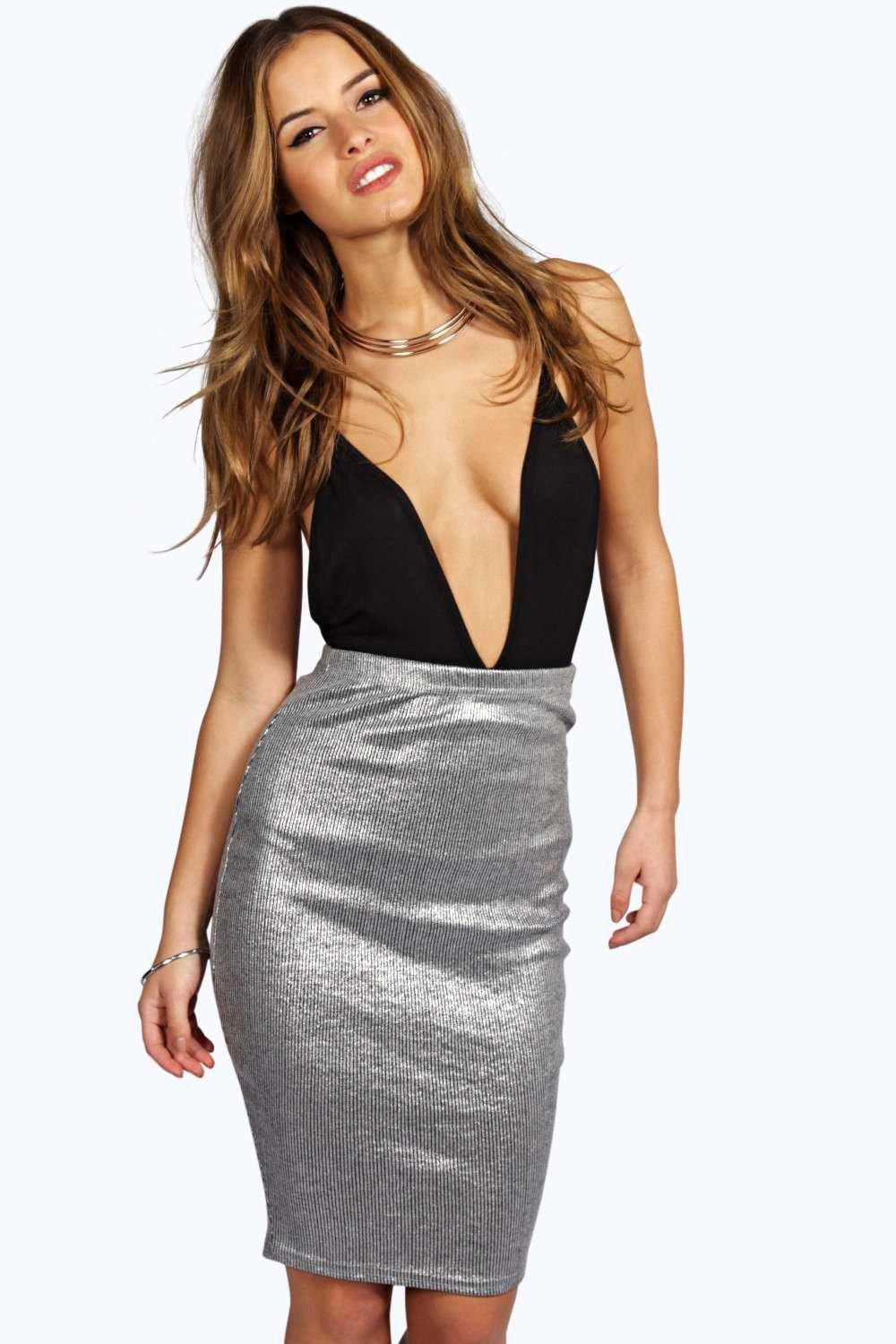 Petite Yasmin Metallic Ribbed Midi Skirt