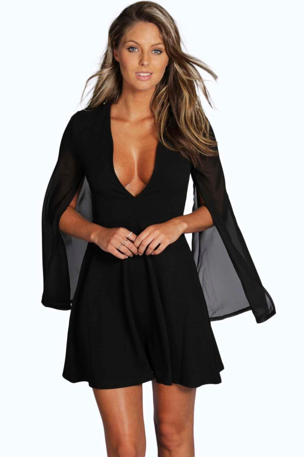Petite Shannon Chiffon Split Sleeve V Neck Dress