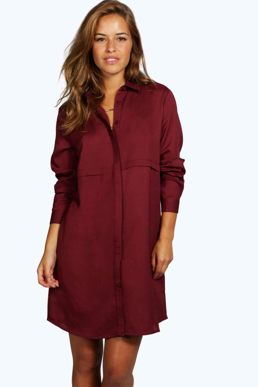 Petite Steph Woven Shirt Dress at boohoo.com