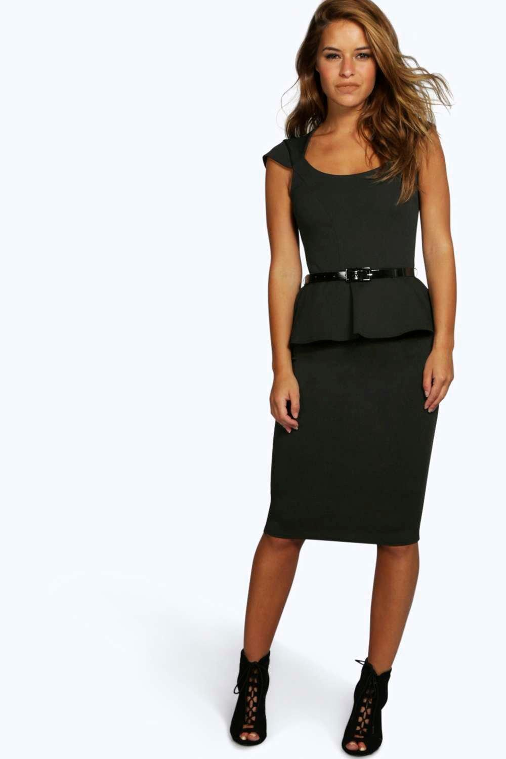 Petite Keeley Peplum Belted Midi Dress