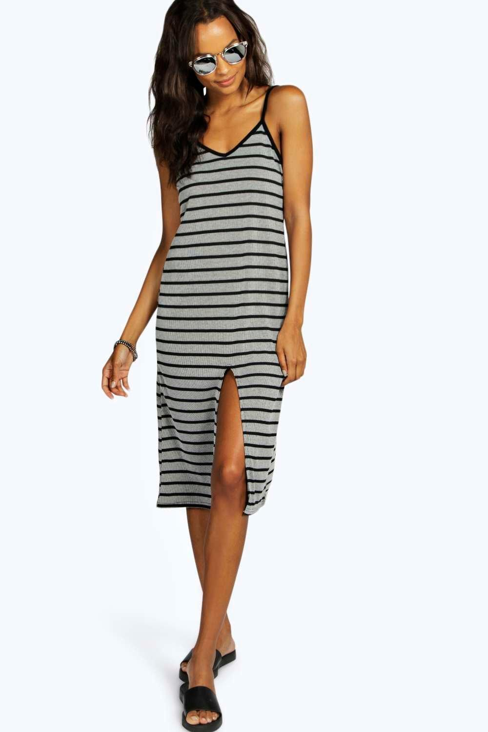 Petite Steph Rib Stripe Slit Front Dress