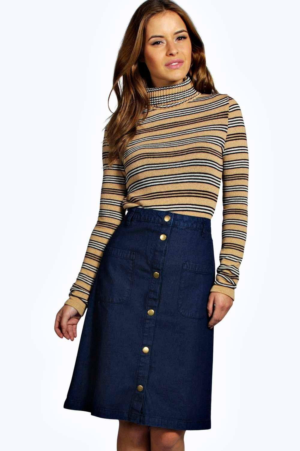 Petite Emily Pocket Detail Button Through Denim Midi