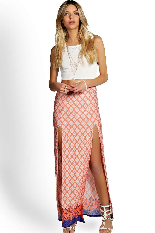 Petite Ebony Aztec Maxi Skirt With Split at boohoo.com