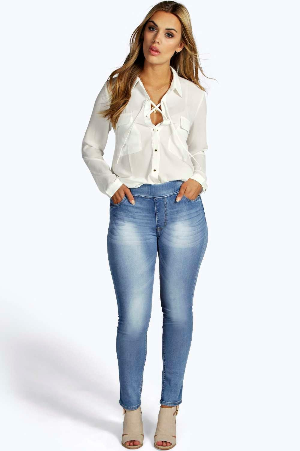 Plus Farah Super Stretch Pull On Denim Jeggings