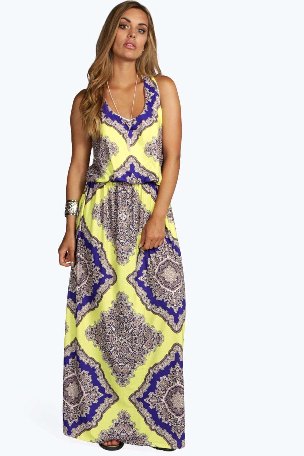 Plus charlotte neon paisley maxi dress at for Boohoo dresses for weddings
