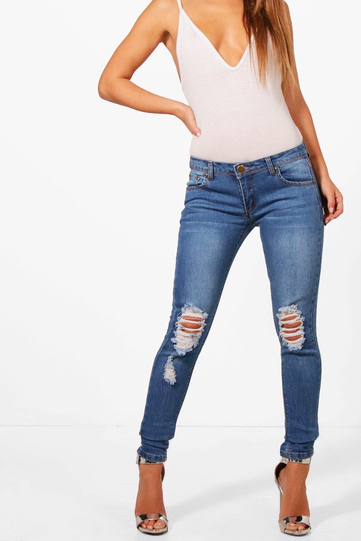 Petite Loren Distressed Rip Knee Skinny Jean at boohoo.com
