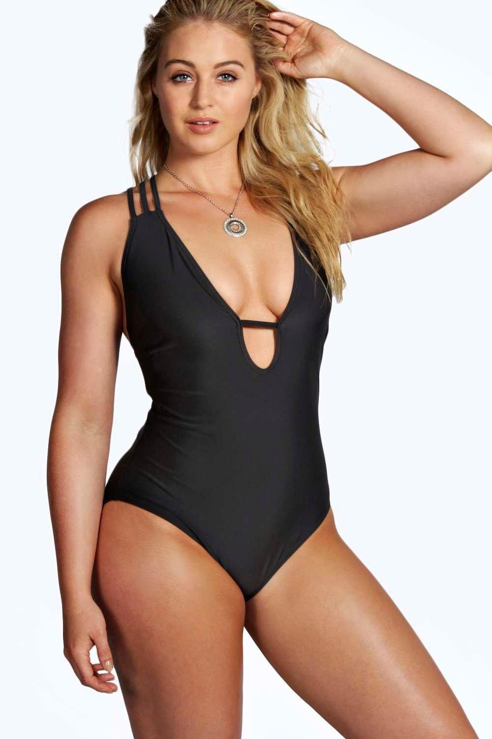 Plus Elise Halterneck Swimsuit With Back Detail