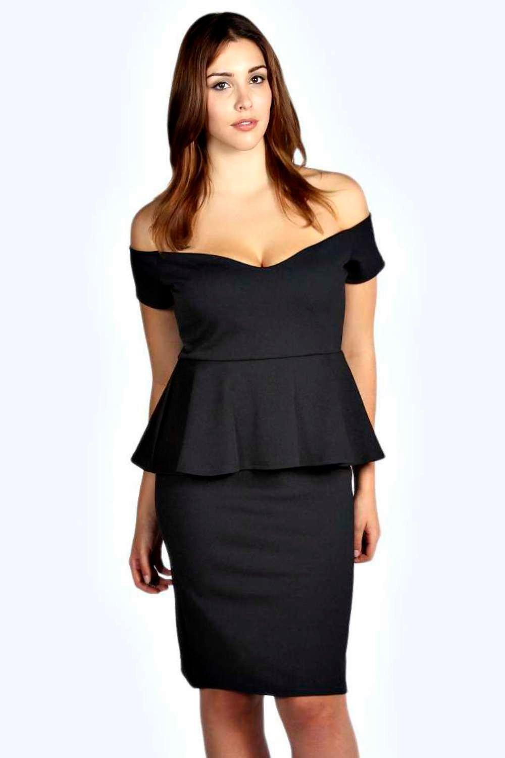 Emily off the shoulder peplum midi dress at for Boohoo dresses for weddings