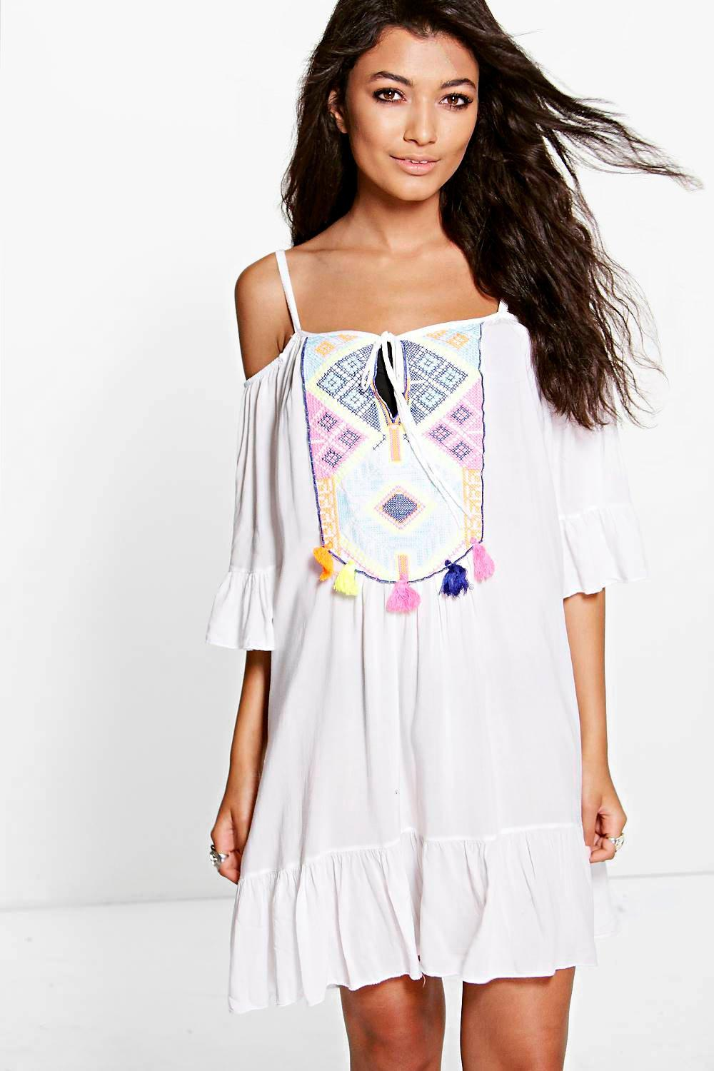 Neve Boutique Tassel Trim Beach Dress