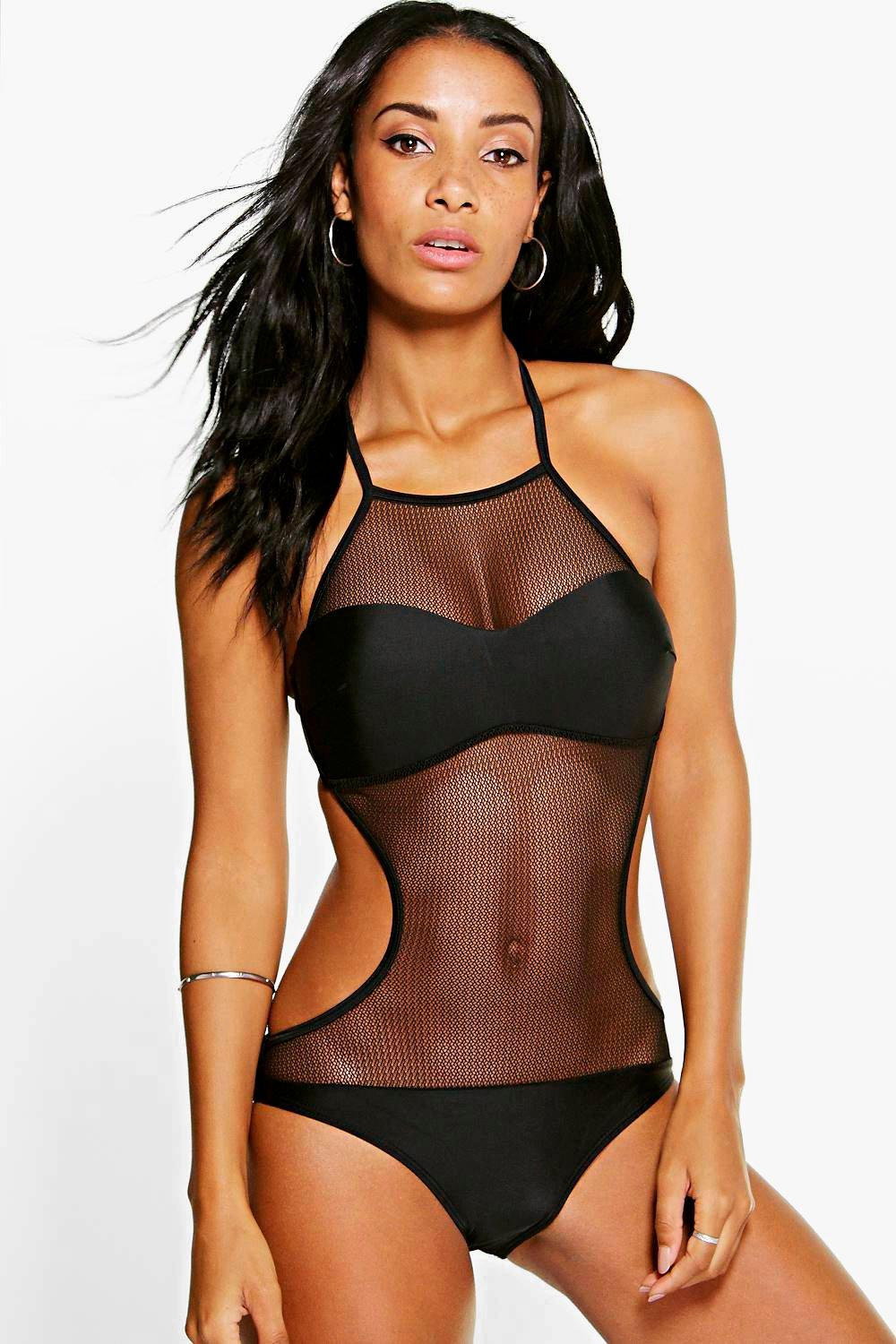 Mesh Halter Cut Out Swimsuit