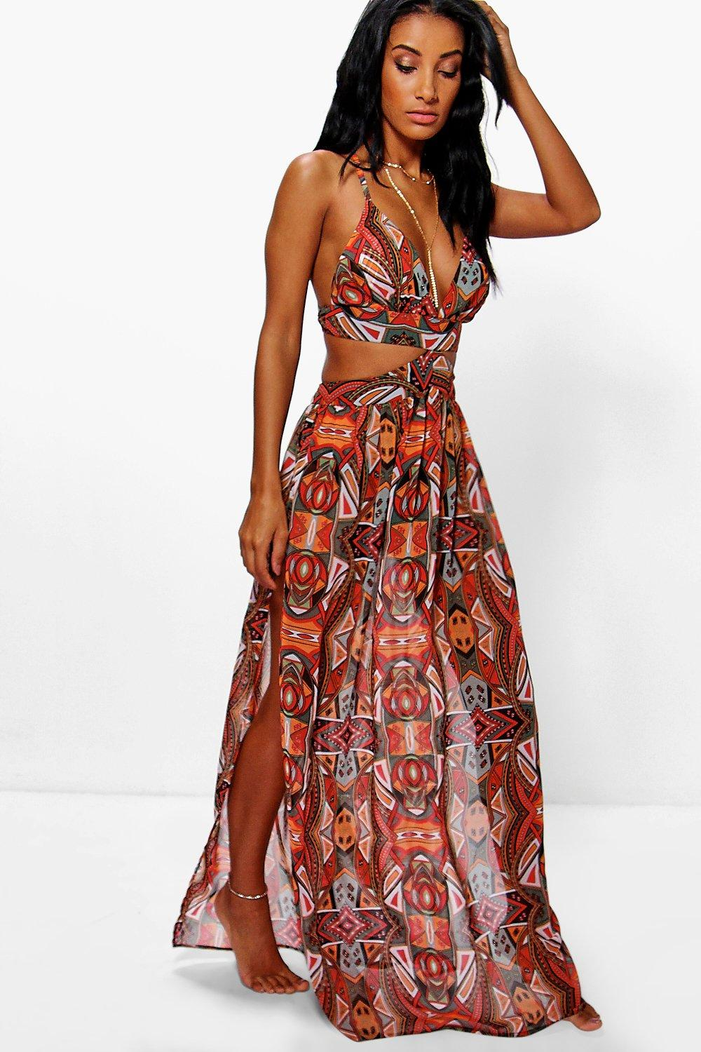 Grace tribal print cut out beach maxi dress at for Boohoo dresses for weddings